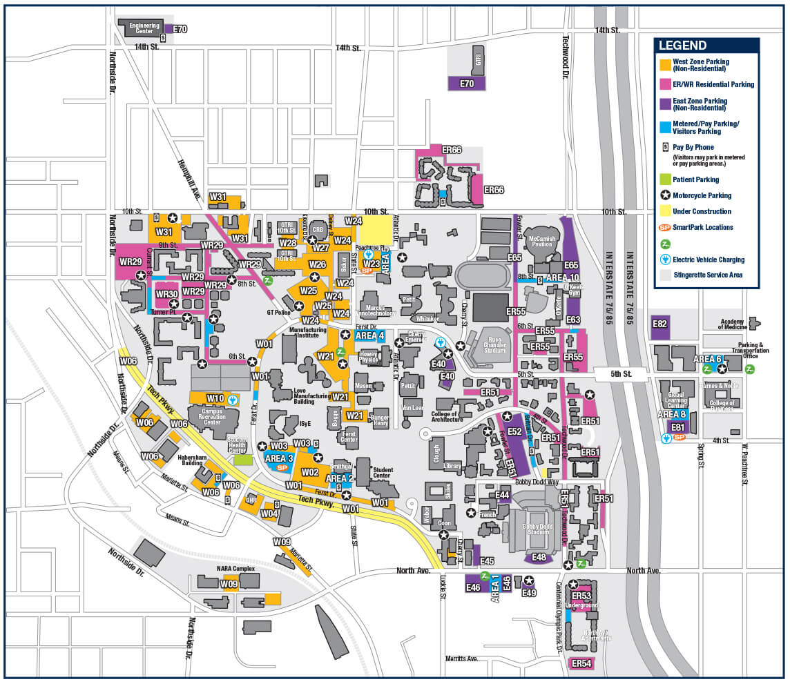 georgia tech parking map